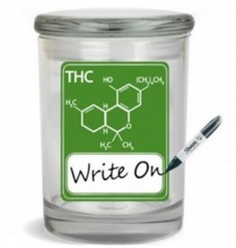 Stash Jar 300ml THC Molecule Green Writeable
