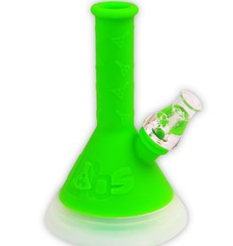 "TWISTED 8"" Silicone Beaker LED Waterpipe Green"