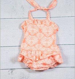Peach Damask Bathing Suit 1pc