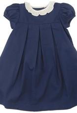 Navy Pique Ruffle Dress