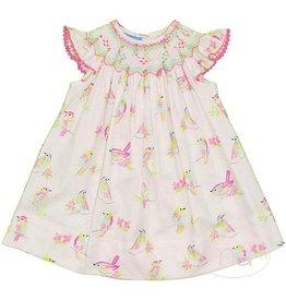 Anavini Bird Print Smocked Dress