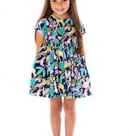 Smiling Button Tropical Jungle Sunday Dress