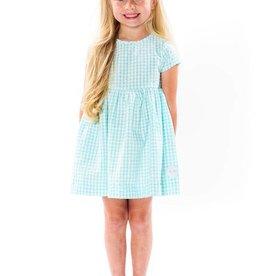 Smiling Button Aqua Gingham Sunday Dress