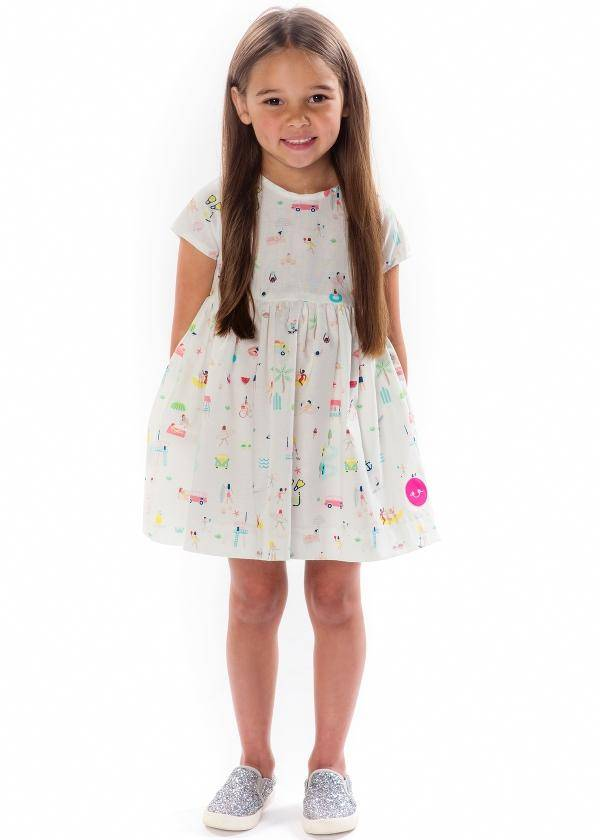 Smiling Button Beach Party Sunday Dress