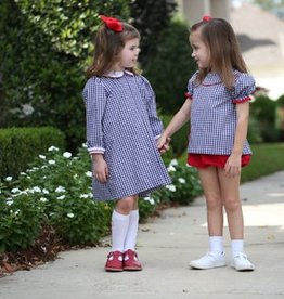 Lullaby Set Navy Gingham Dress Red Trim