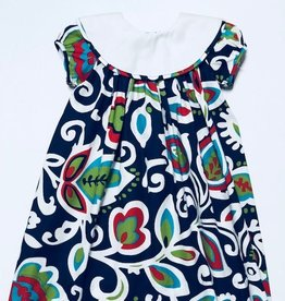 LeZaMe Loula Bib Navy Faxon Dress