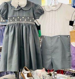 Lulu Bebe Rose Smock Dress Gray