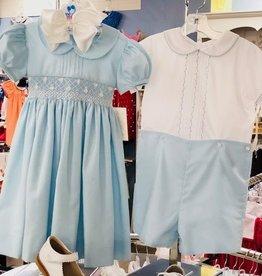 Lulu Bebe Rose Smock Dress Blue