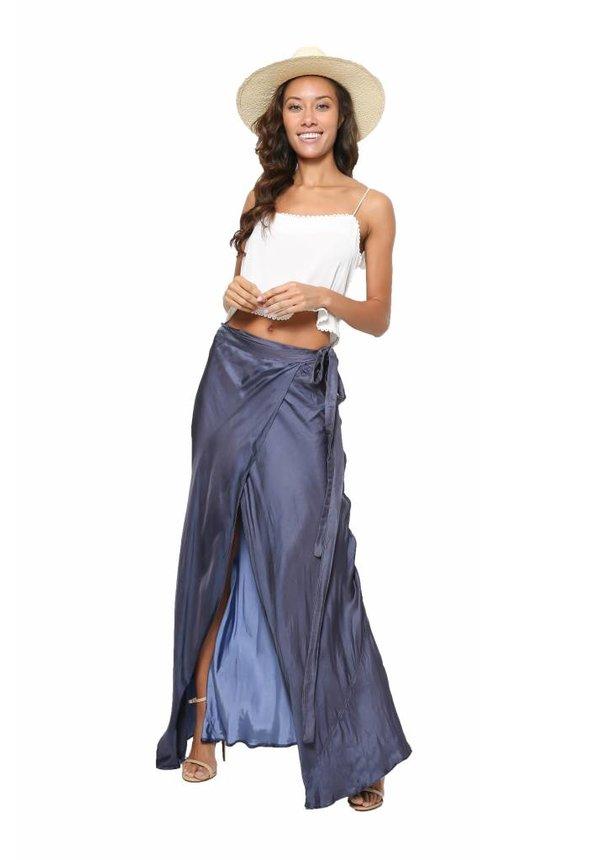 Chan Luu Rayon Satin Wrap Skirt