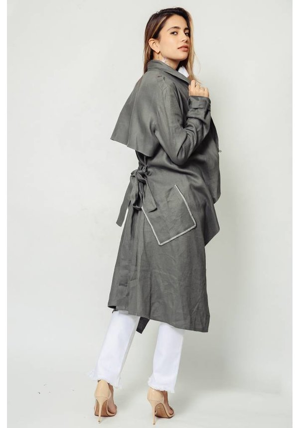 Laura Siegel Khaki Hemp Trench