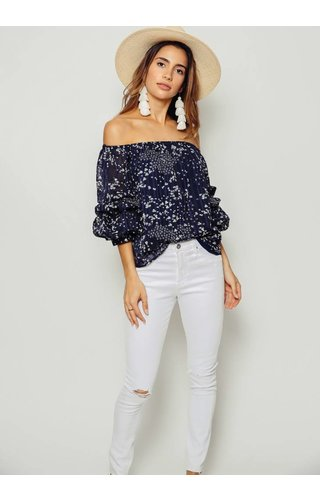 1 State 1 State Off Shoulder Pintuck Sleeve Blouse