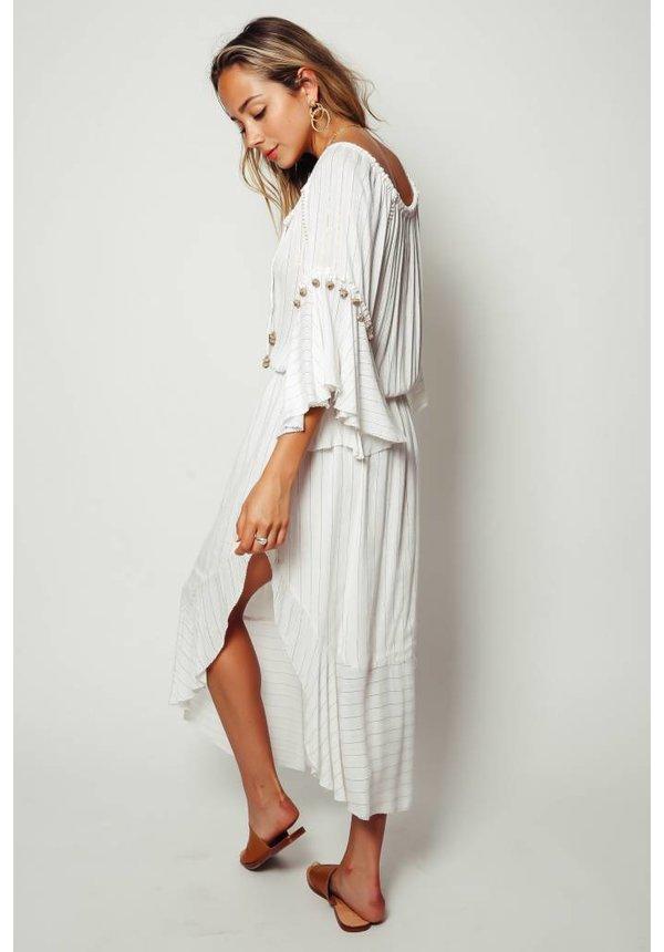 Saylor Rosa Ruffle Sleeve Maxi Dress
