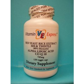 VITAMIN EXPRESS Red Yeast/Milk Thistle/ALA/CoQ10 120v