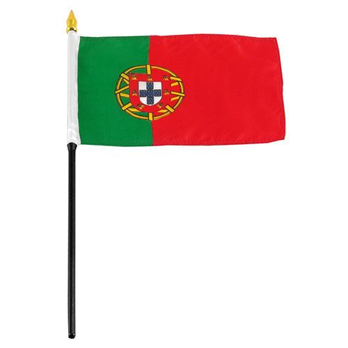"Online Stores Stick Flag 4""x6"" - Portugal"
