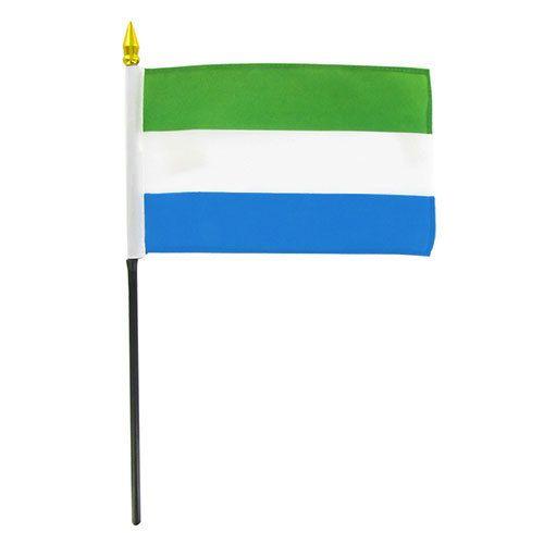 """Online Stores Stick Flag 4""""x6"""" - Sierra Leone"""