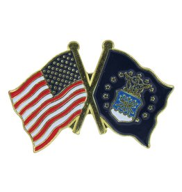 Popcorn Tree Lapel Pin - US and Air Force Flags
