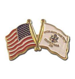 Popcorn Tree Lapel Pin - US and Coast Guard Flags