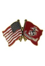 Online Stores Lapel Pin - US and Marine Flags