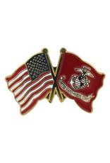 Popcorn Tree Lapel Pin - US and Marine Flags