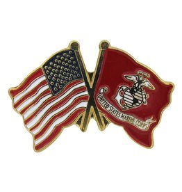 Popcorn Tree Lapel Pin - US and Marine Flags