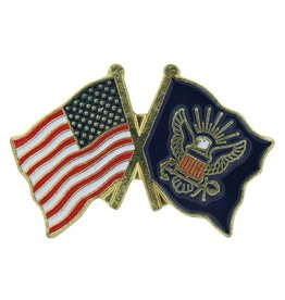 Online Stores Lapel Pin - US and Navy Flags