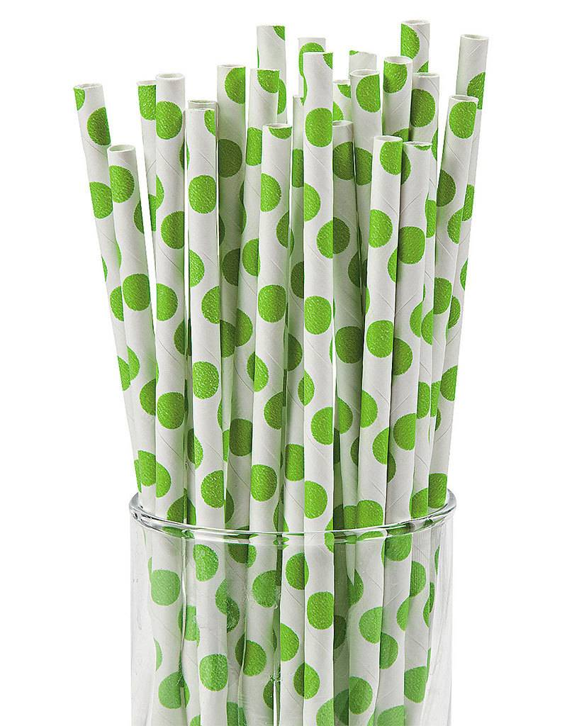 FUN EXPRESS Polka Dot - Lime Green Straws, 12pcs