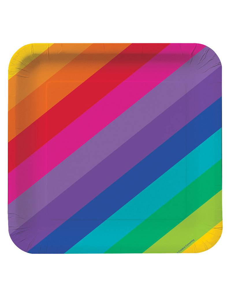 "Creative Converting Rainbow - Plates, 7"" Square"