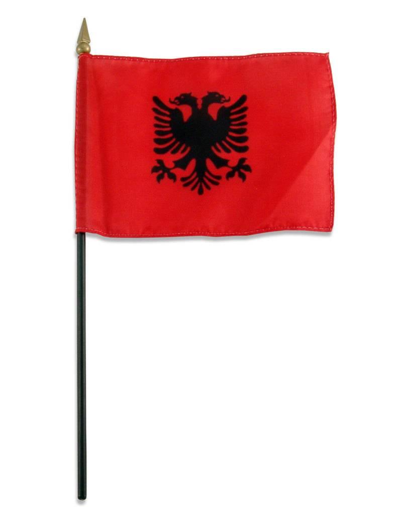 "Online Stores Stick Flag 4""x6"" - Albania"