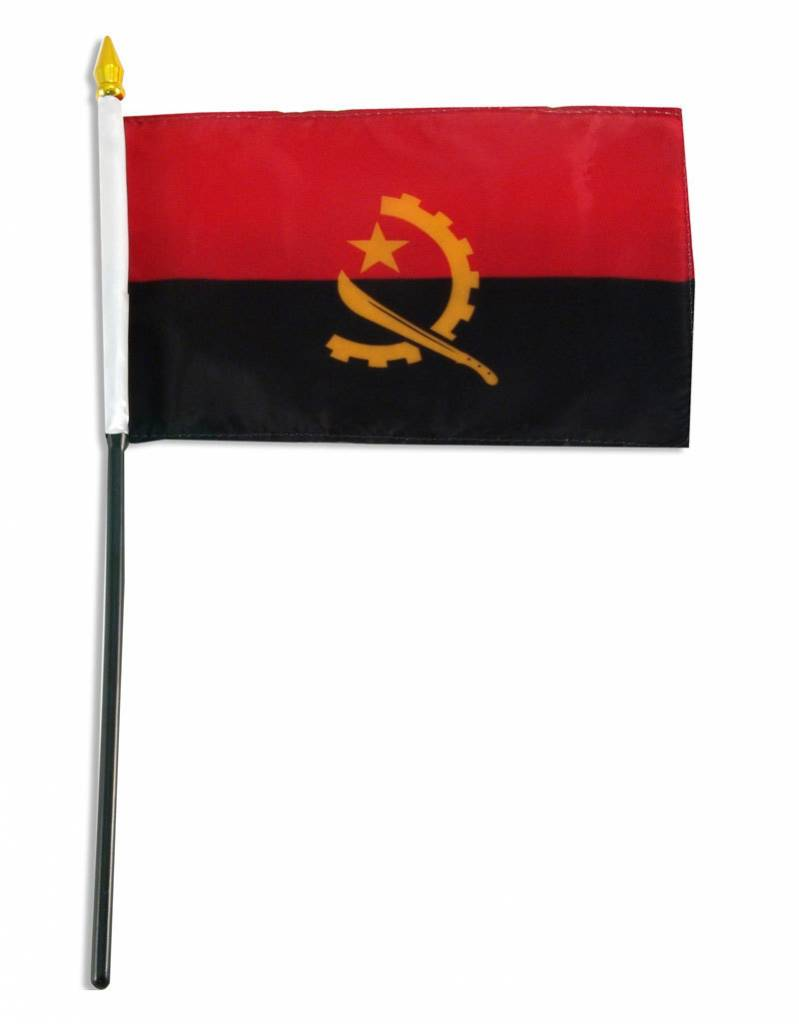 "Online Stores Stick Flag 4""x6"" - Angola"