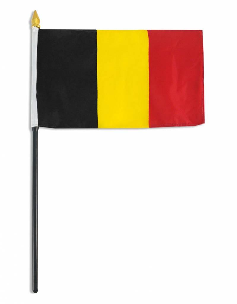 """Online Stores Stick Flag 4""""x6"""" - Belgium"""