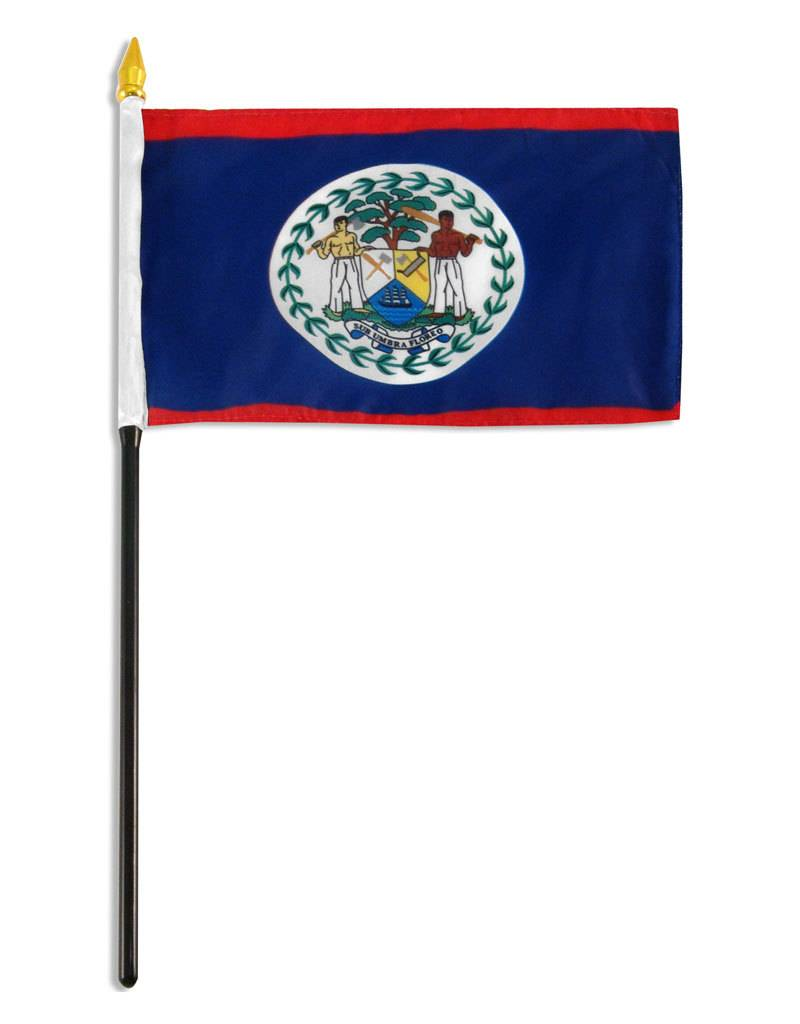 "Online Stores Stick Flag 4""x6"" - Belize"