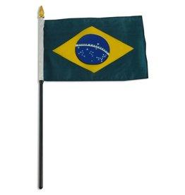 "Popcorn Tree Stick Flag 4""x6"" - Brazil"
