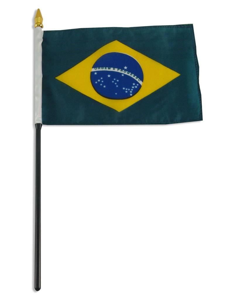 "Online Stores Stick Flag 4""x6"" - Brazil"
