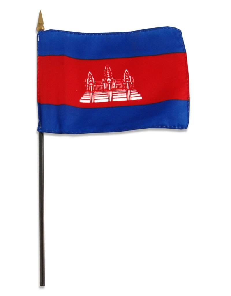 "Online Stores Stick Flag 4""x6"" - Cambodia"