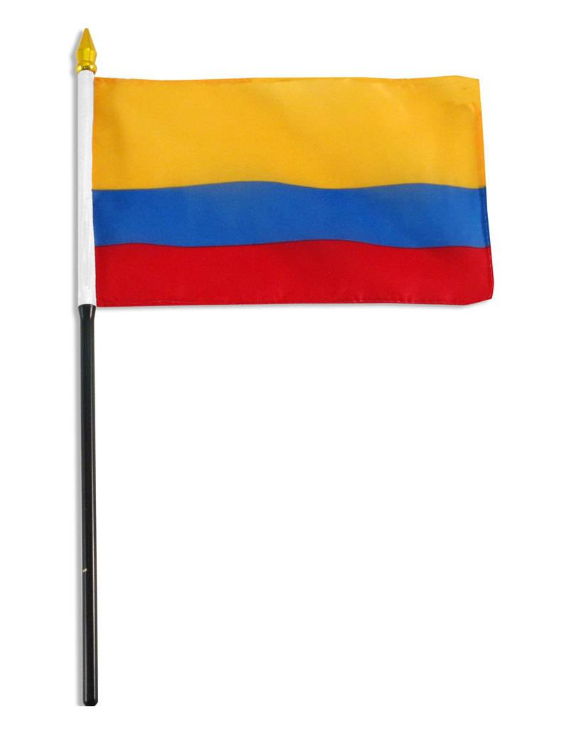 """Online Stores Stick Flag 4""""x6"""" - Colombia"""
