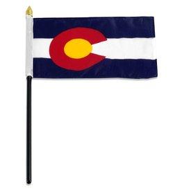 """Online Stores Stick Flag 4""""x6"""" - Colorado"""