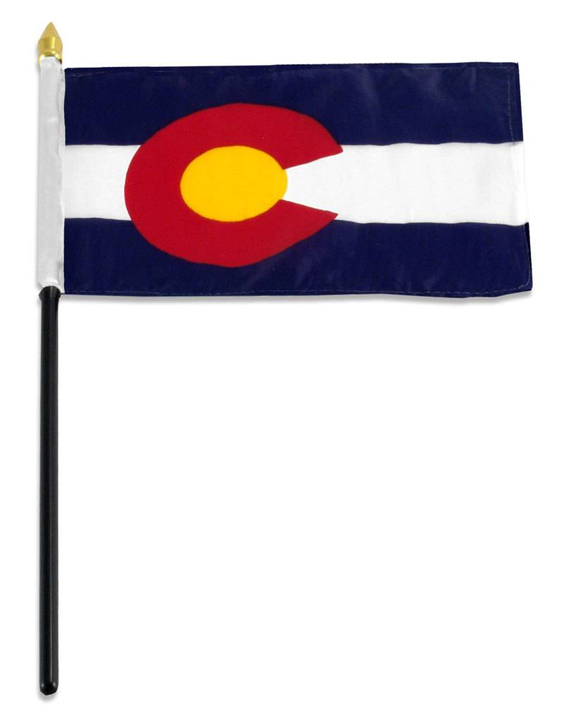 "Online Stores Stick Flag 4""x6"" - Colorado"