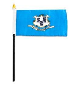 "Online Stores Stick Flag 4""x6"" - Connecticut"