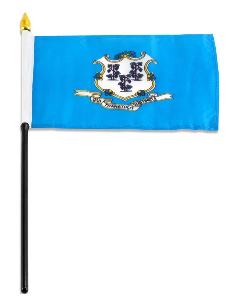 """Online Stores Stick Flag 4""""x6"""" - Connecticut"""