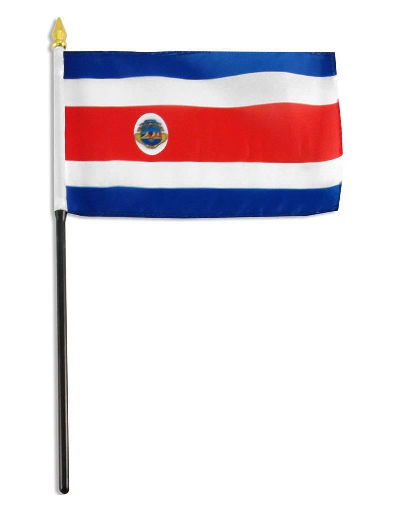 "Online Stores Stick Flag 4""x6"" - Costa Rica"