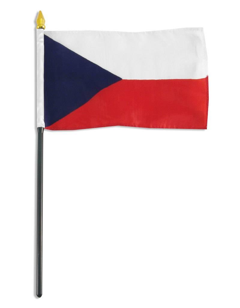 "Online Stores Stick Flag 4""x6"" - Czech Republic"