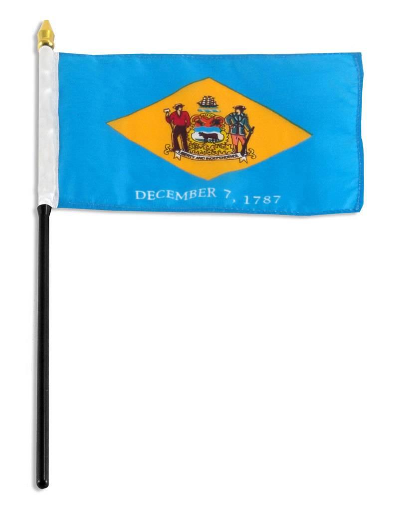 "Online Stores Stick Flag 4""x6"" - Delaware"
