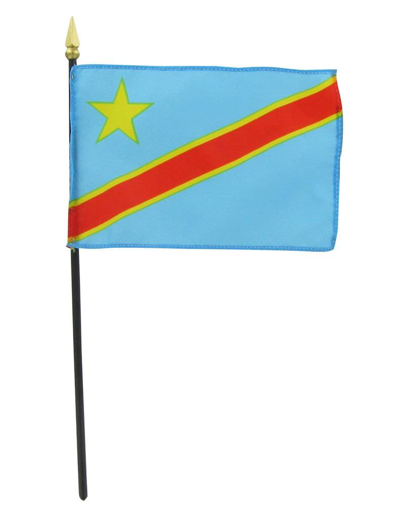 "Online Stores Stick Flag 4""x6"" - Democratic Republic of Congo"
