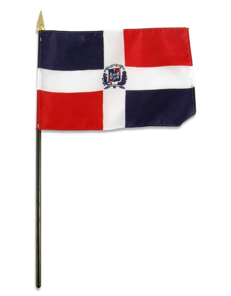 "Online Stores Stick Flag 4""x6"" - Dominican Republic"