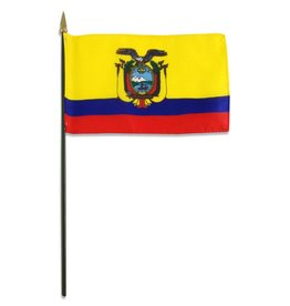 """Online Stores Stick Flag 4""""x6"""" - Ecuador"""