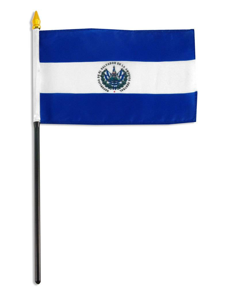 """Online Stores Stick Flag 4""""x6"""" - El Salvador"""