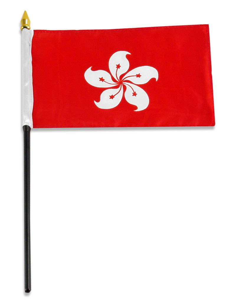"Popcorn Tree Stick Flag 4""x6"" - Hong Kong"