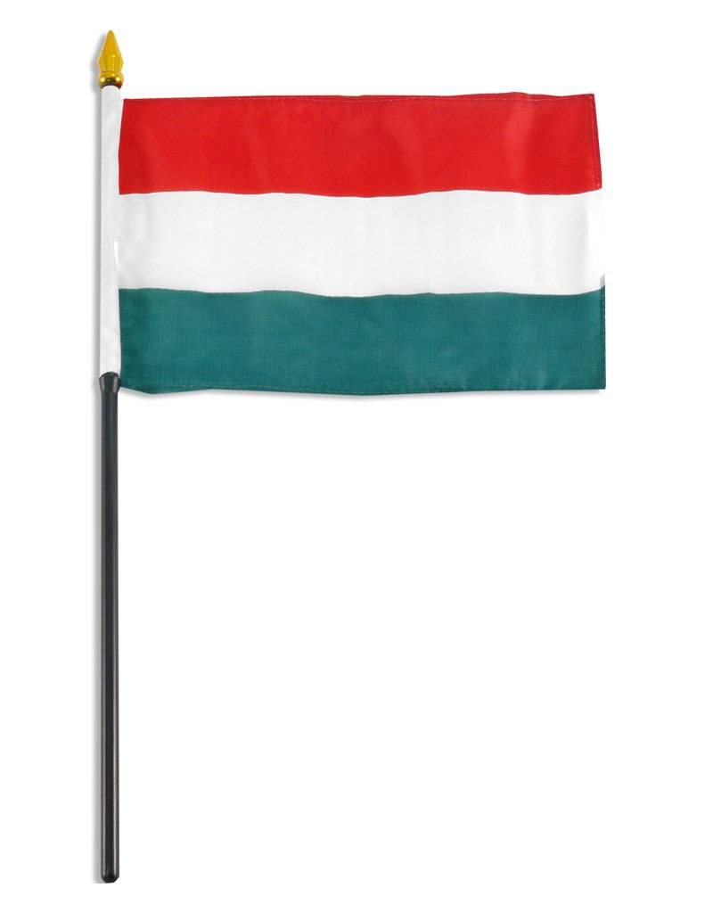 """Online Stores Stick Flag 4""""x6"""" - Hungary"""