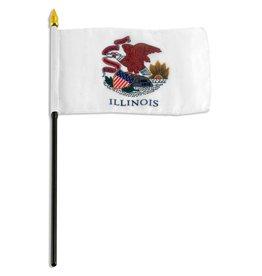 """Online Stores Stick Flag 4""""x6"""" - Illinois"""