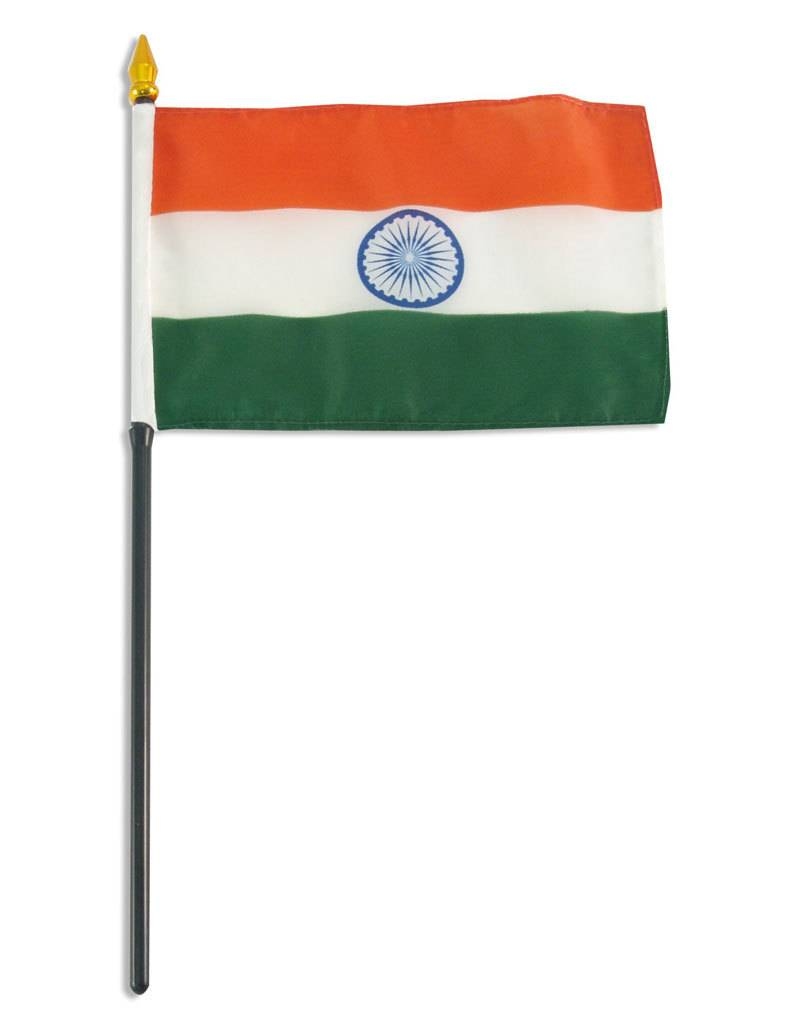 """Online Stores Stick Flag 4""""x6"""" - India"""